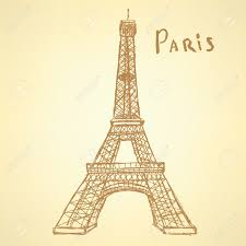 sketch eiffel tower vector vintage background royalty free