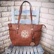 monogram purse bag tan pocketbook tan leather monogram tote