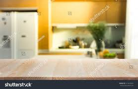 kitchen room interior wood table top island blur kitchen stock photo 511841620