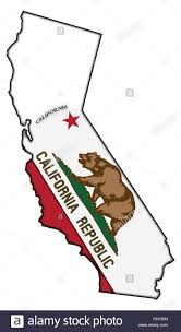 Califirnia Flag A California Flag In A California Map Isolated On A White