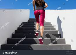 Pain Climbing Stairs by Stairs Climbing Running Woman Doing Run Stock Photo 426398659