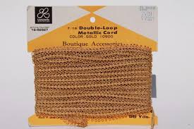 vintage metallic gold cord braid looped soutache trim for sewing