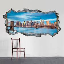 cheap home wall art shop online with 80 off at lesara 3d vinyl wall sticker view of new york