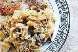 sauerkraut with bacon and apples recipe simplyrecipes com