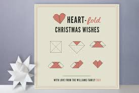 origami inspired holiday cards heart fold by rose eckford