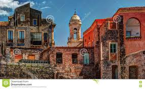 beautiful view of colorful facades of old houses in italy stock