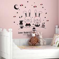stickers geant chambre fille stickers muraux chambre enfant mignon lapin de dessin animac