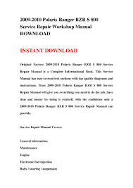2009 2010 polaris ranger rzr s 800 service repair workshop manual dow u2026