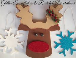 glitter snowflakes and rudolph decorations