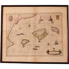 Large Framed World Map by 17th Century Map Of The Balearic Islands Barcelona Valecia From