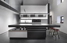cuisine effet beton design interieur cuisine blanc et noir ilot rangements sol effet