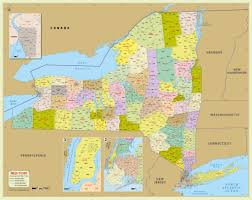 Map Of Long Island New York by Buy New York Zip Code Map With Counties 48 U2033 W X 38 U2033 H