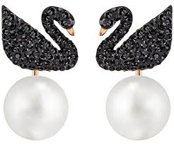 ear ring photo iconic swan pierced earring jackets black gold plating