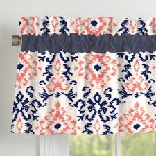navy and coral ikat window valance rod pocket carousel designs
