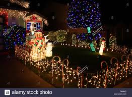 christmas lights san francisco decorated house with christmas lights in san francisco stock photo