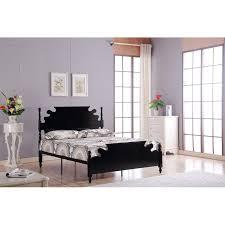 Black Metal Bed Frame Modern Bed 4 U00279 Solid Black Metal Bed Frame With Wooden Headboard