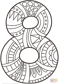 number 8 zentangle coloring page free printable coloring pages