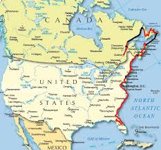 detailed map of usa and canada cycling east canada and usa
