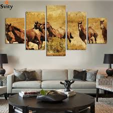 online get cheap antique horse prints aliexpress com alibaba group 5 ppcs horse painting canvas wall art picture home decoration living room canvas print antique painting