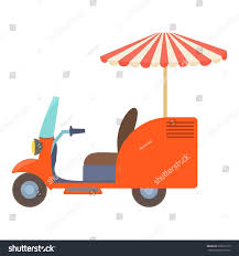 tricycle cartoon fast food trolley motorbike icon cartoon stock vector 630917315