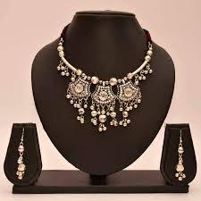 metal necklace designs images Buy anvi 39 s black metal necklace and earrings with kundan design online jpg