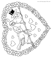 coloring pages of a heart two birds valentine u0027s day coloring pages