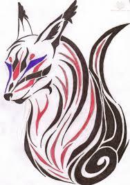 colorful tribal fox tattoo design