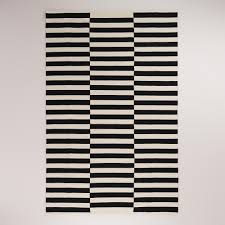 World Market Rug For Dining Room Black And White Stripe Dhurrie Rugs World