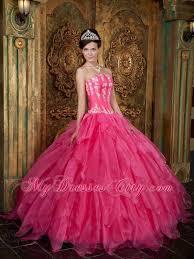best quinceanera dresses strapless appliques ruffled hot pink quinceanera dress