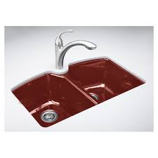 Enamel Sinks Kitchen Shop Kohler Roussillon Red 3 Hole Double Basin Cast Iron