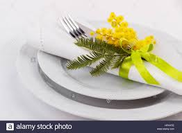 spring table setting with mimosa holidays background with copy