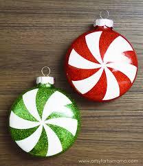 glitter peppermint ornaments artsy fartsy