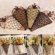 rattan wall hanging wall mounted vase for artificial flowers