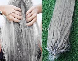 micro ring extensions micro loop ring links remy silver grey human hair