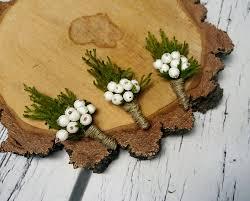 wedding flowers groom winter wedding rustic boutonniere cypress burlap twine white