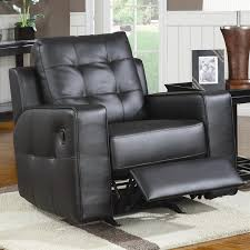 Black Leather Recliner Black Bonded Leather Rocker Recliner By Coaster 600316