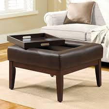 Tray Top Storage Ottoman Coffee Table 2017 Popular Brown Leather Ottoman Coffee Tables