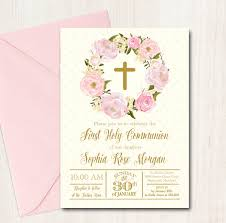 communion invitation floral communion invitation pink baptism invite printable