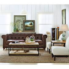 Leather Sofa In Living Room by Home Decorators Collection Gordon Blue Leather Sofa 0849400310