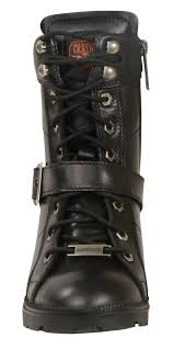 laced motorcycle boots ladies black leather lace up boots w side buckle plain toes