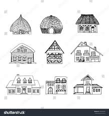 Different Houses by Big Hand Drawn Set Sketch 9 Stock Vector 475800448 Shutterstock