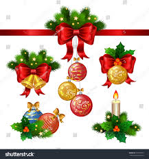 Decoration Of Christmas Star by Set Christmas Holiday Decorations Decoration Tree Stock Vector