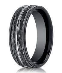mens wedding bands cobalt hammered benchmark black cobalt chrome wedding band for