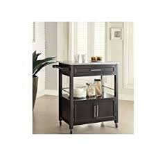 amazon com wooden kitchen island black granite top storage
