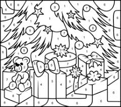 7 images printables christmas color number difficult