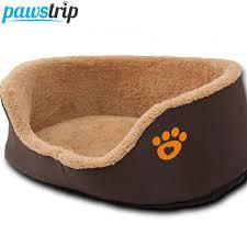 paw print round dog sofa bed soft fleece warm chihuahua small dog