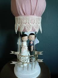 air cake topper wedding cake topper with custom wedding dress with hot air balloon