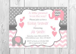 girl baby shower invitations elephant baby shower invitation it s a girl elephant chevron
