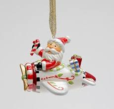 cosmos gifts 10648 santa with airplane ornament 2 1 4