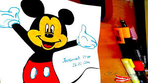 draw mickey mouse body easy color kids
